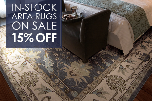 In-stock area rugs on sale!  15% OFF!